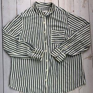 Ava & Viv - Navy & Ivory Button Down Shirt - 1X